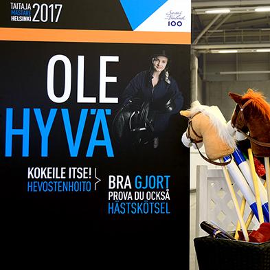 Taitaja2017 Helsinki -kilpailun opastekonsepti, hevosenhoidon kilpailupiste.