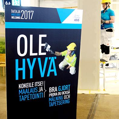 Taitaja2017 Helsinki -kilpailun opastekonsepti, maalauksen kilpailupiste..