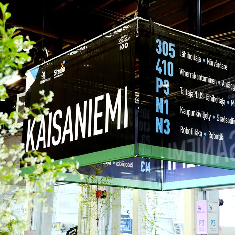 Taitaja2017 Helsinki -kilpailun opastekonsepti Helsingin Messukeskuksessa.