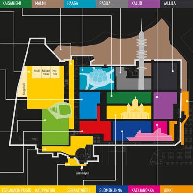 Taitaja2017 Helsinki -kilpailun lajikartta, jossa alueita visualisoitu maamerkki-ikoneilla.