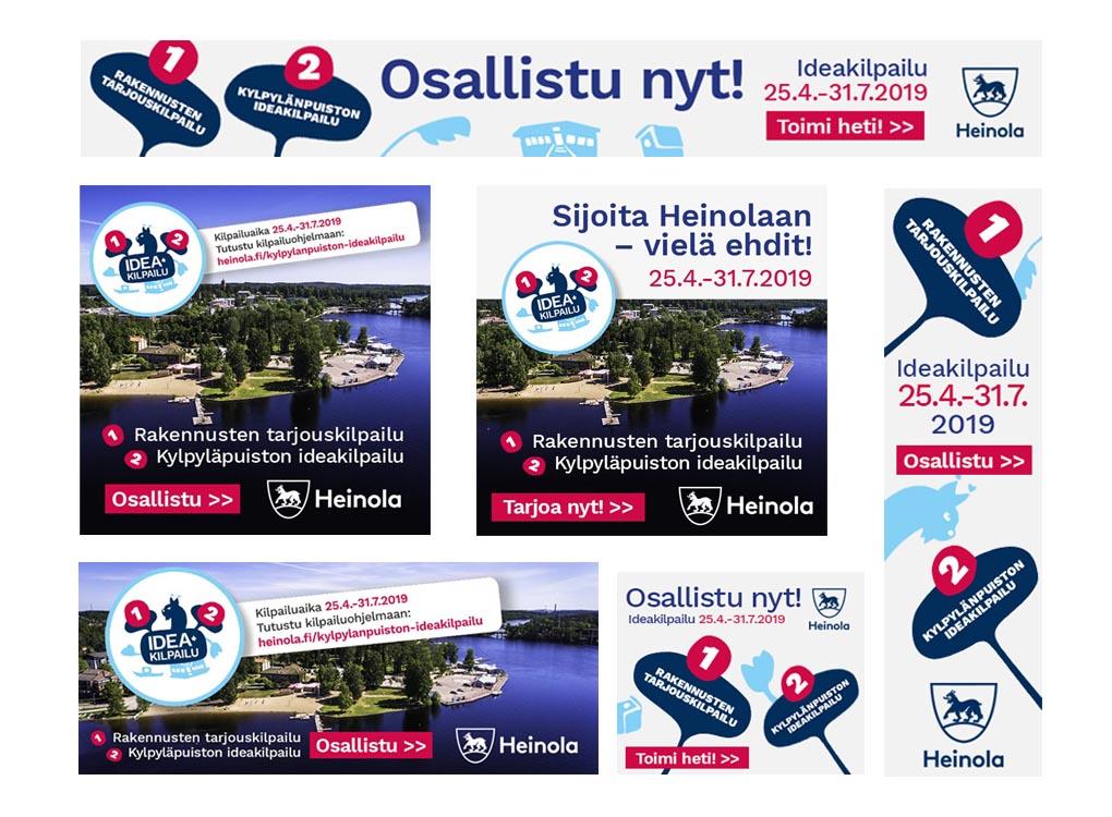 Heinolan kaupungin Kylpylänpuiston ideakilpailun some- ja bannerimainontaa.