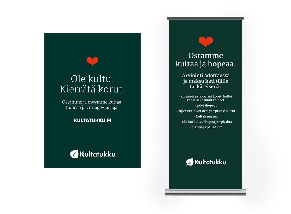 Kultatukun Kultu-konseptin juliste ja roll-up.