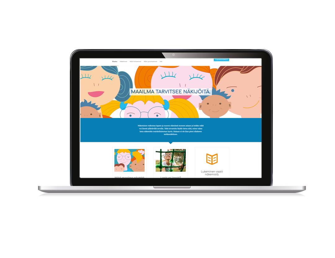 Lapsennäkö.fi verkkosivujen etusivu.