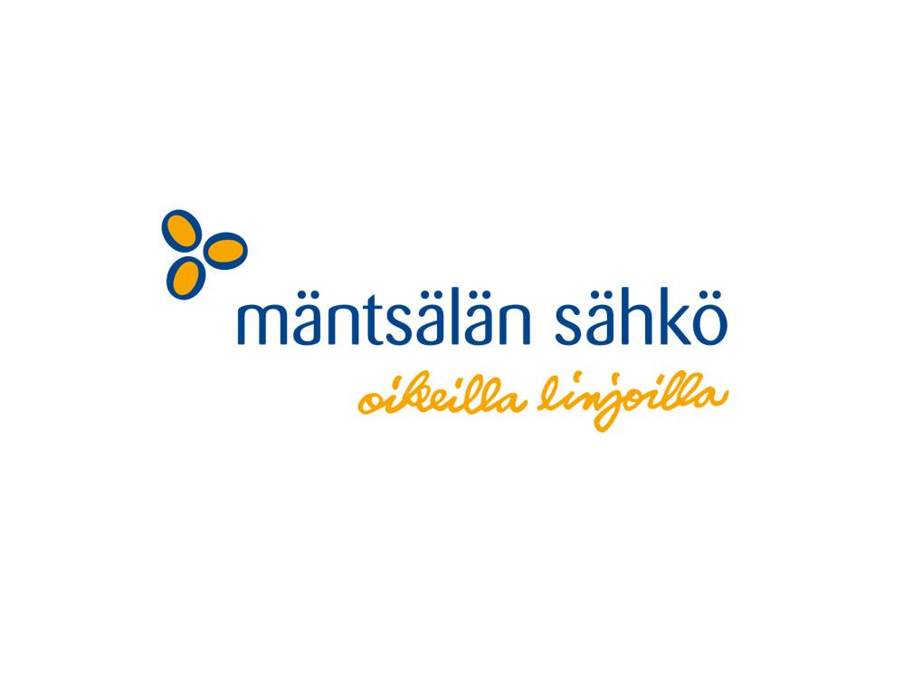 Mäntsälän sähkön logo ja slogan.