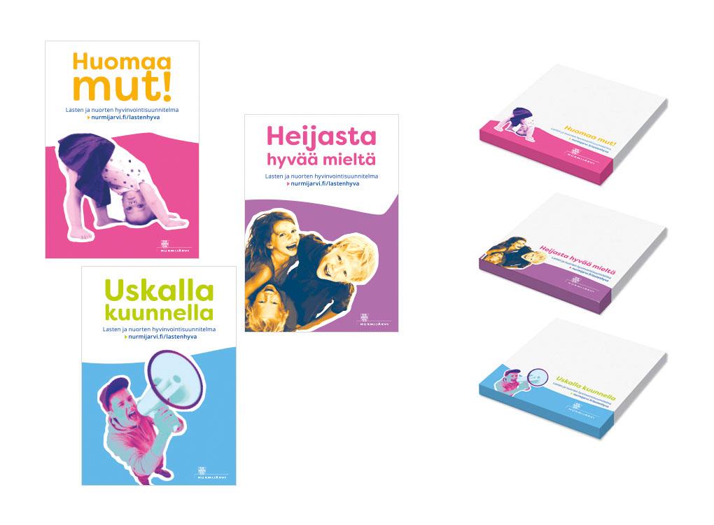 Nurmijärven kunnan lasten ja nuorten hyvinvointisuunnitelma, julisteet ja tarralaput.