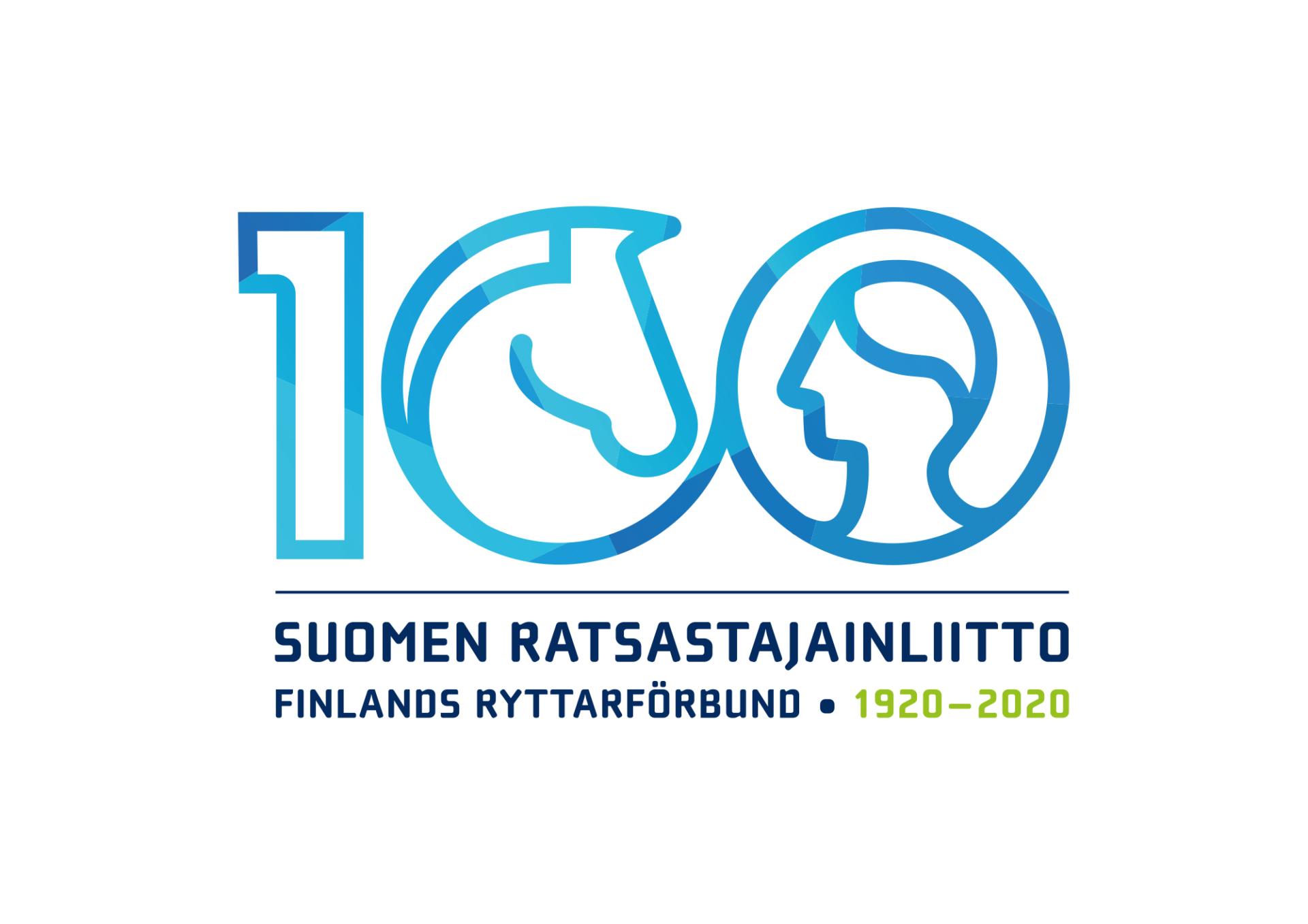 Suomen Ratsastajainliiton 100-vuotisjuhlalogo.