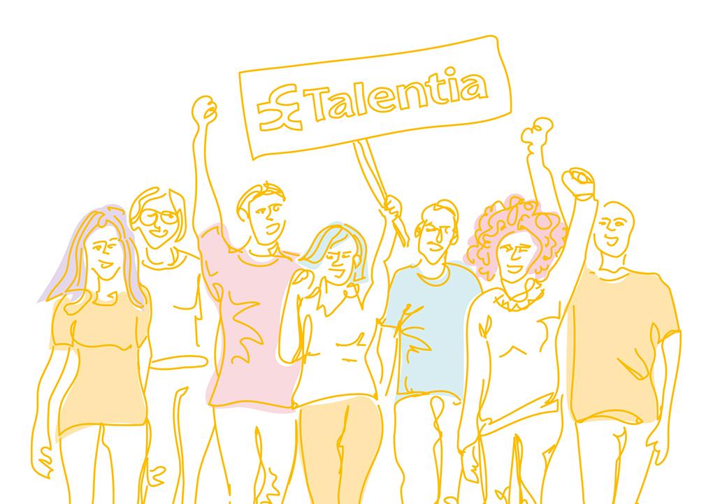 Talentia-kuvitus, mielenosoitus.