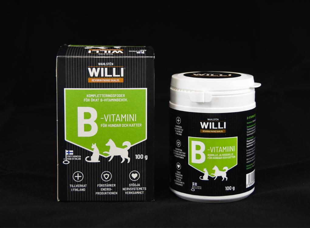 Willi B-vitamiinipurkki ja pahvipakkaus.