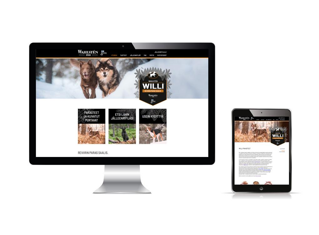 Willi verkkosivujen ilmeen suunnittelu.