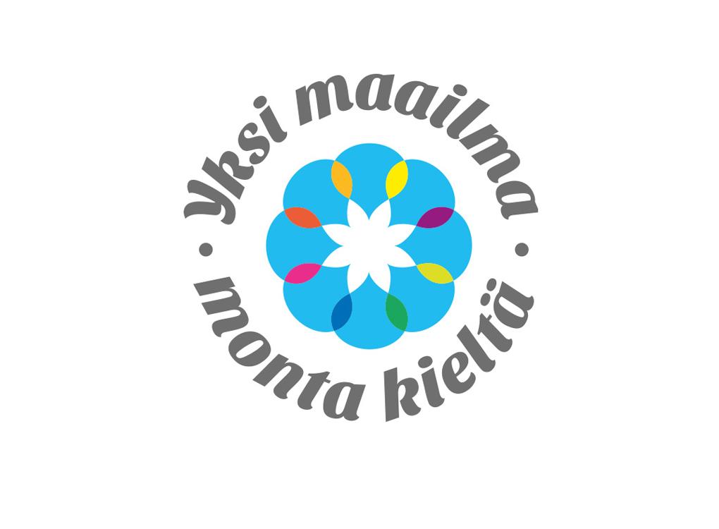 Yksi maailma, monta kieltä -hankkeen logo.