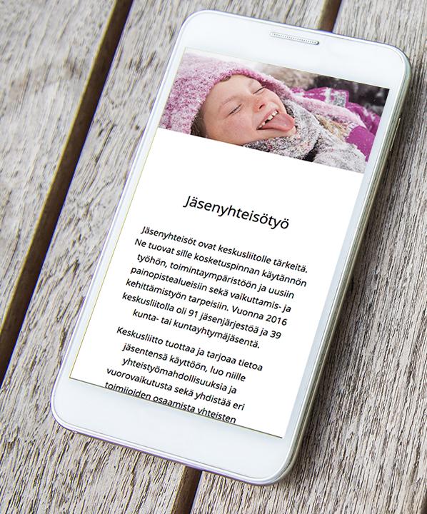 Lastensuojelun nettivuosikatsaus 2016, mobiilinäkymä.